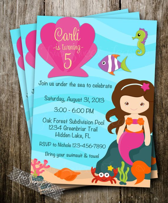 Mermaid Pool Party Invitation Swimsuit Water Slide Girl Birthday Summer Beach Under The Sea