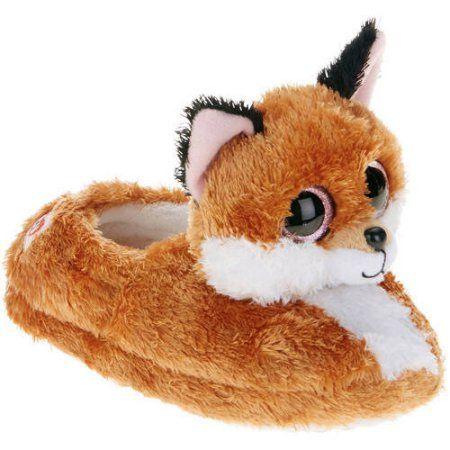 ba46eb5ce99 Beanie Boo Girls Slippers Faux Fur Slick Fox (X Large (3-4))
