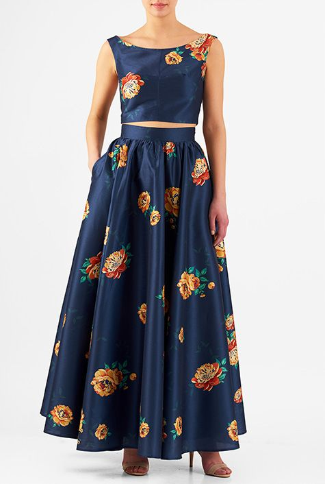 6f0b9e07d8d I  3 this Floral print dupioni two-piece maxi dress from eShakti ...