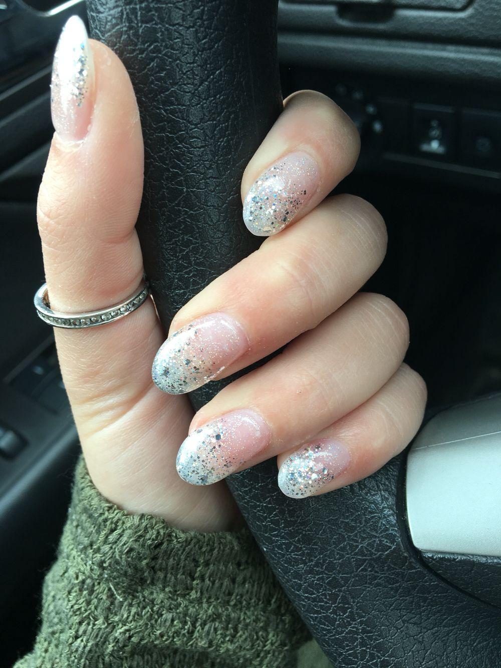 Round silver glitter acrylic nails | Nails! | Pinterest | Glitter ...