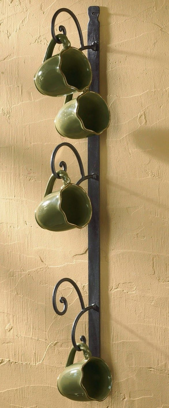 This wrought iron mug rack would look great at our place! (And at ...