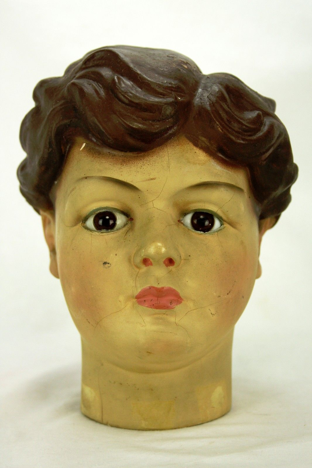 Antique French Paper Mache Boy Mannequin Head Ebay