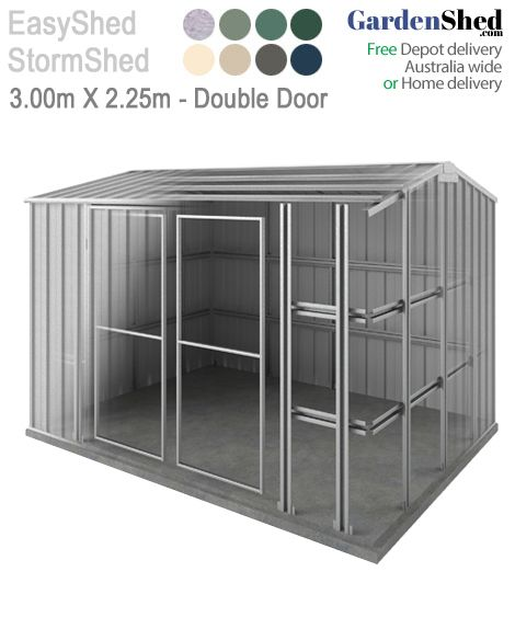Easyshed Storm 3 00m X 2 25m Double Door Cyclone Roller Doors Shed Ramp Shed