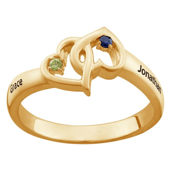 ef771b6f27 Couple's Simulated Birthstone Interlocking Hearts Ring in 10K Gold (2  Stones and Names)