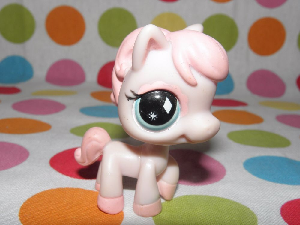 Littlest Pet Shop Figure LPS 592 Pink Pony Horse Blue Eyes with Diamond and star #Hasbro