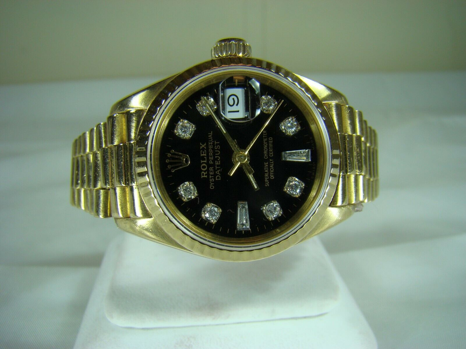 Rolex Dayjust President 18k Yg Womens Watch Ref 69178 Black Diamond Dial Rolex 18k Gold Watch Bezel Diamond