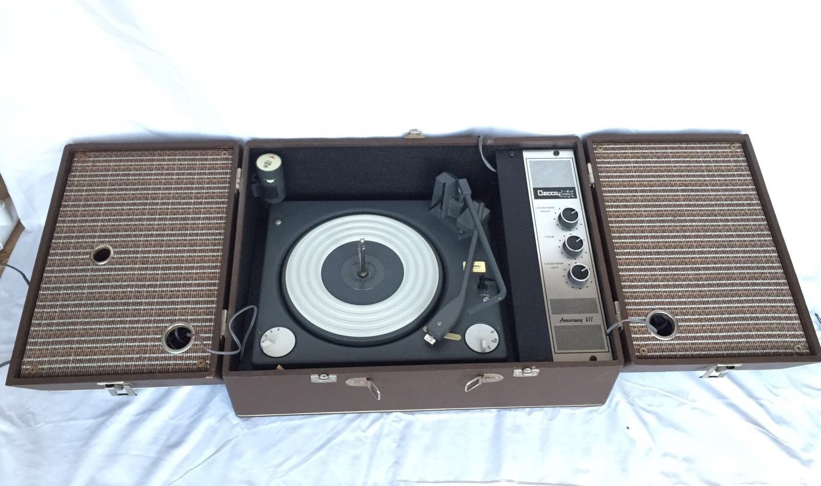 My father's Decca record player. Graphic card, Record