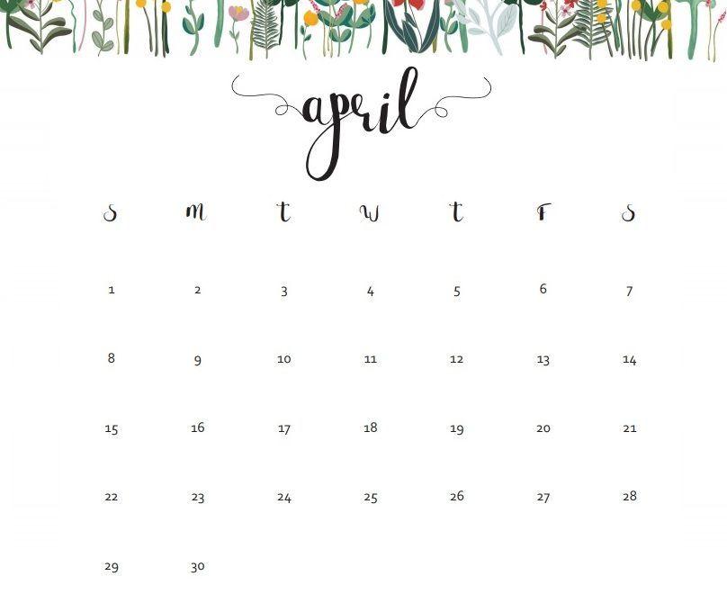 April 2018 Calendar Floral Designs Calendar 2018