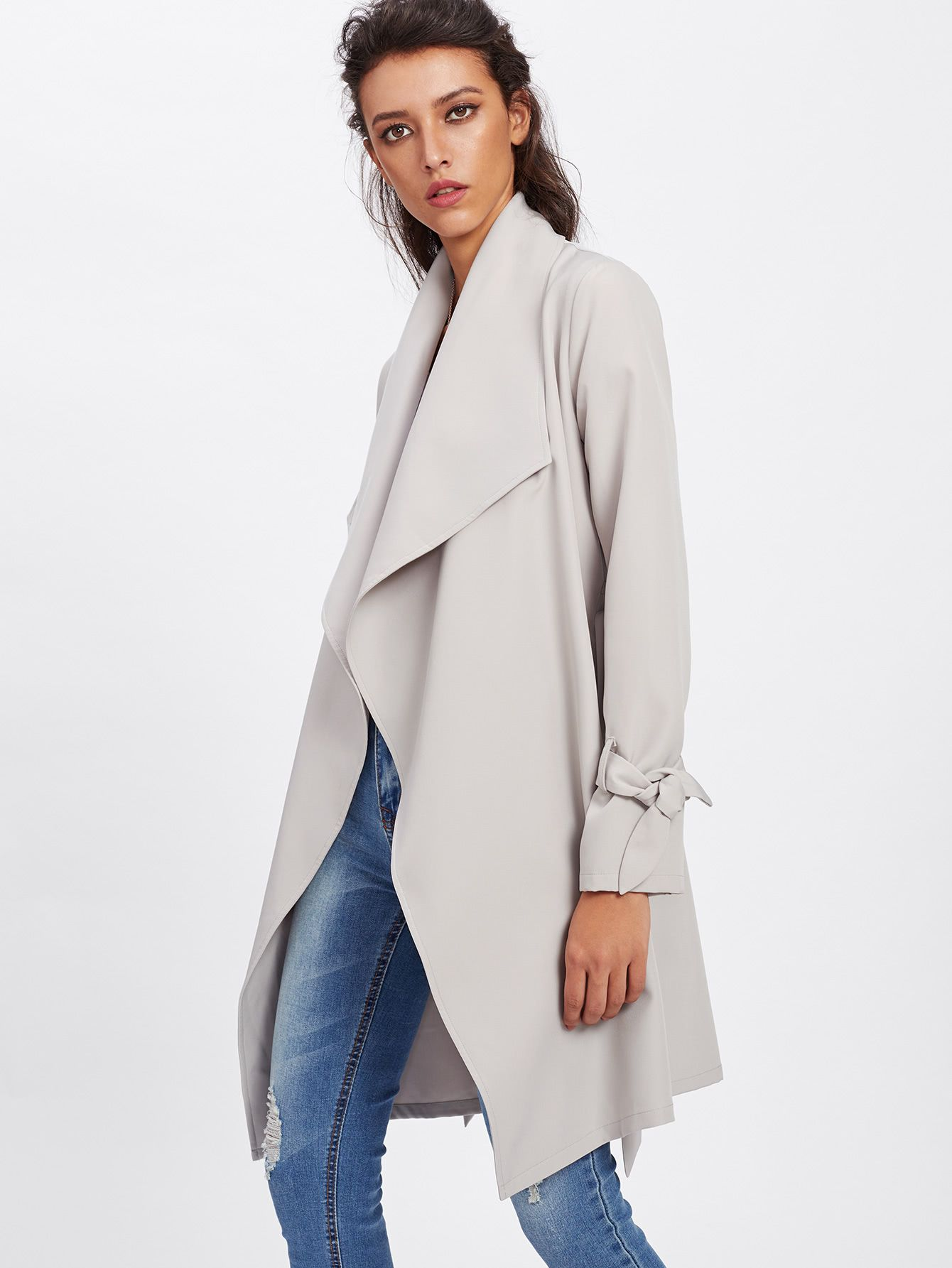 Shop Belted Cuff Wrap Coat online. SheIn offers Belted Cuff Wrap ...