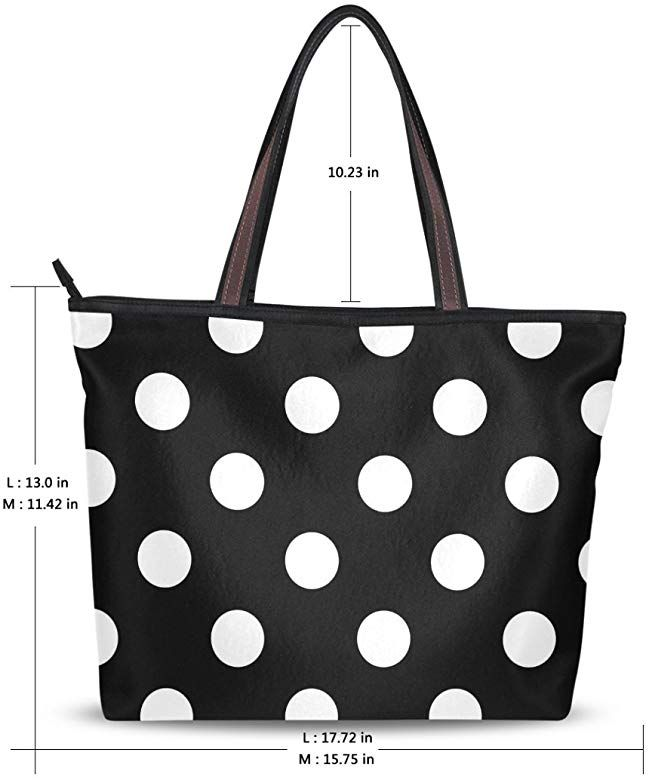 Amazon Com Women Large Tote Top Handle Shoulder Bags Polka Dot