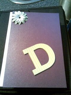 Birthday card D purple with chipboard letter