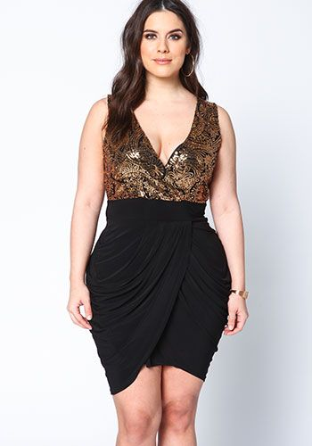 plus size gold sequin wrapped dress - debshops | debshops