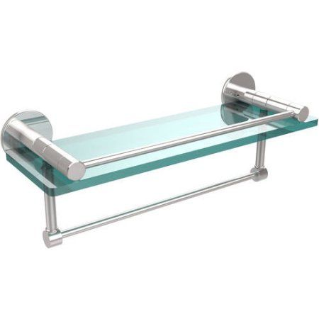 Fresno Collection 16 inch Glass Shelf with Vanity Rail and Integrated Towel Bar (Build to Order)