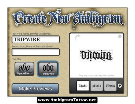 Free Ambigram Tattoos Maker 02