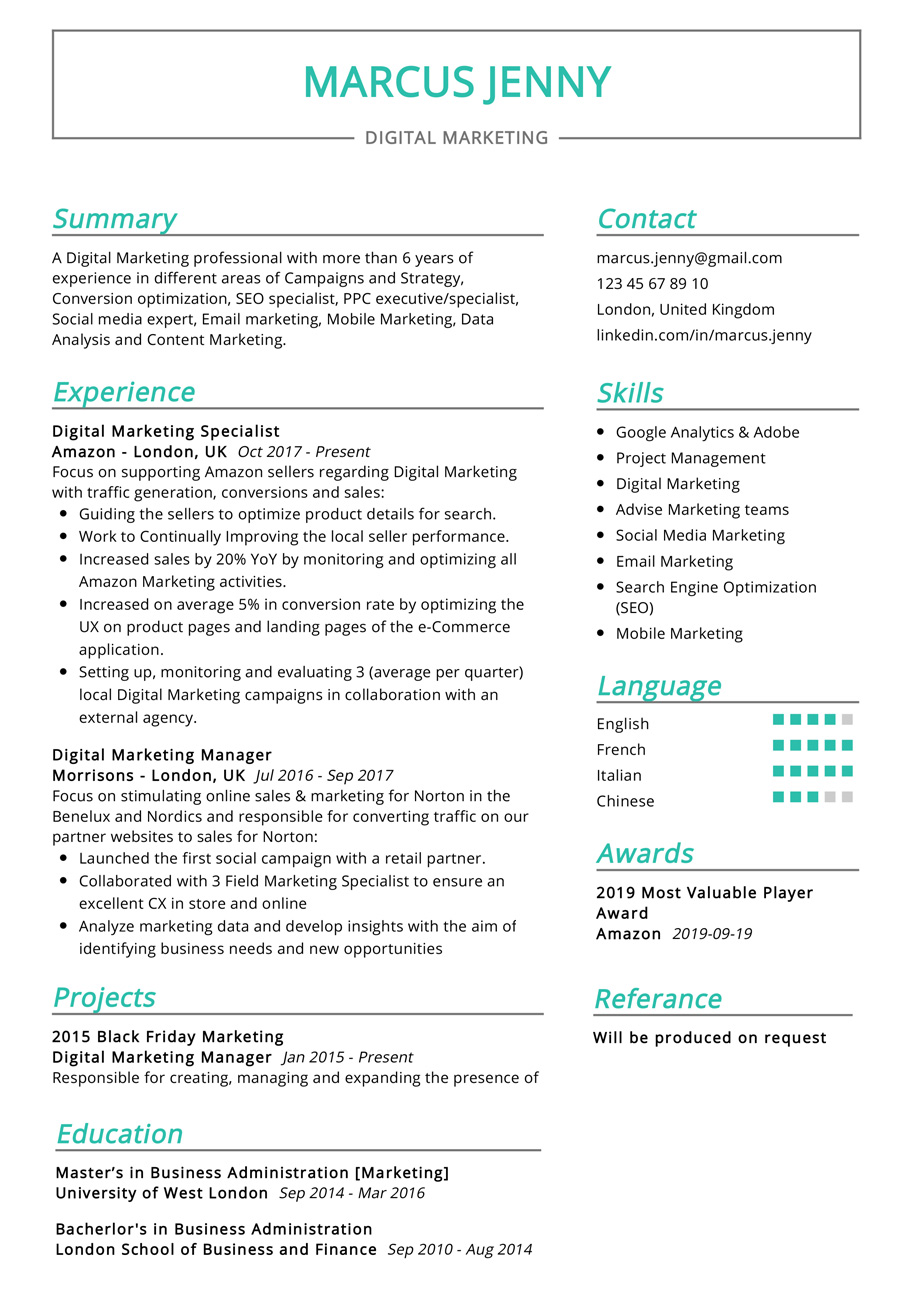 This Is The Most Recommended Professional Resume With Best Resume Format And Professional Design Sample Marketing Resume Resume Examples Good Resume Examples