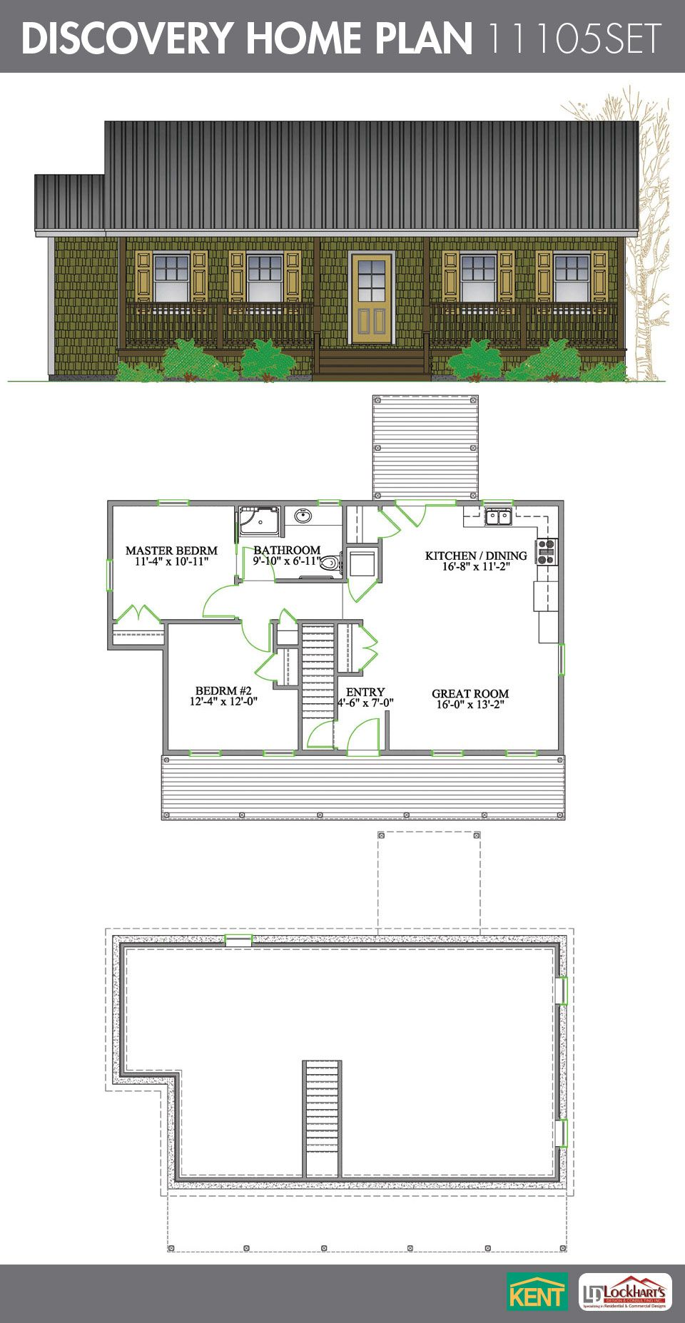 Discovery 2-bedroom, 1 bathroom home plan. Features: Open concept ...