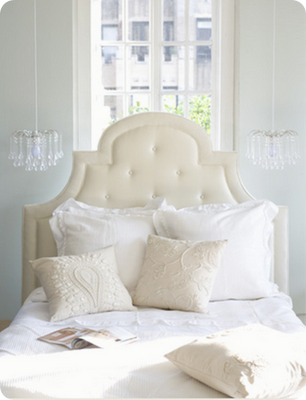 White Tufted Headboard For A Guestroom