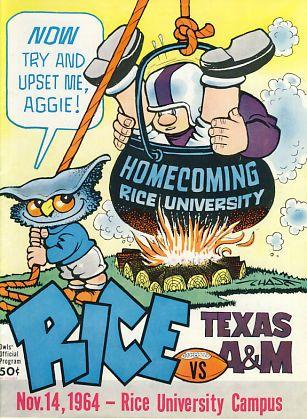 1964 Rice Owls V Texas A Rice University Cover