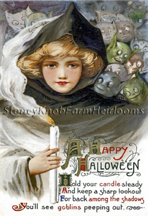 Hold Your Candle Steady ~ Vintage Halloween ~ Counted Cross Stitch Pattern #StoneyKnobFarmHeirlooms #CountedCrossStitch