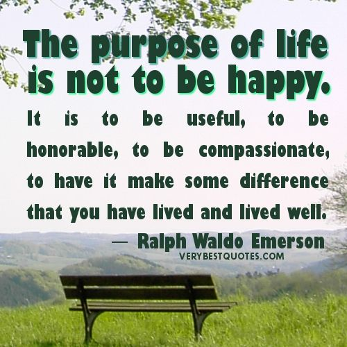 Purpose Of Life Quotes Best The Purpose Of Life Is Not To Be Happyit Is To Be Useful To Be