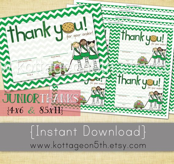 Sale 2 sizes 4x6 and 85 x 11 girl scout cookie thank you card sale 2 sizes 4x6 and 85 x 11 girl scout cookie thank you card unlimited printable reorder notes junior green chevron love it colourmoves Image collections