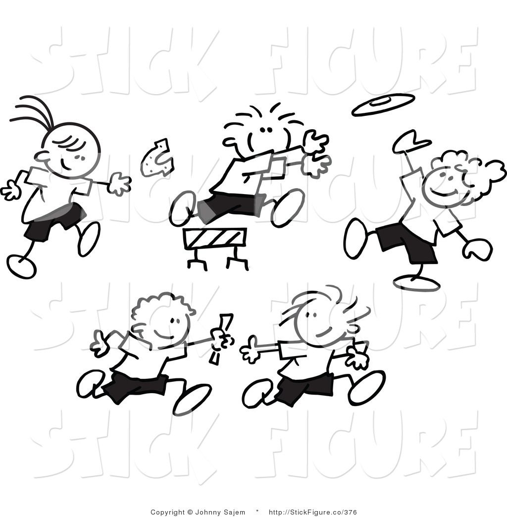 Royalty free vector clip art of black and white stick figure kids throwing  horse shoes, playing frisbee, jumping hurdles and running a relay race.