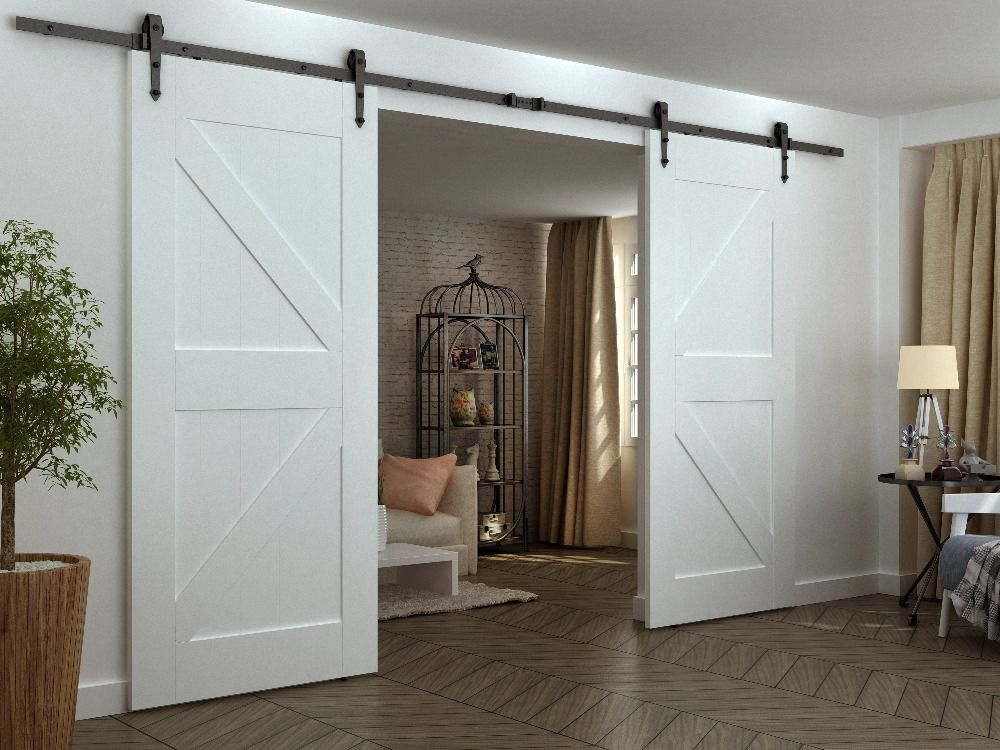 Diyhd 12ft Arrow Wheel Double Sliding Barn Door Hardware Interior American Sliding Barn Door Kit With Images Double Sliding Barn Doors Wood Doors Interior Doors Interior