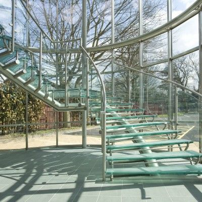Glass Stairwells were added to this office building on the outskirts of Cambridge.
