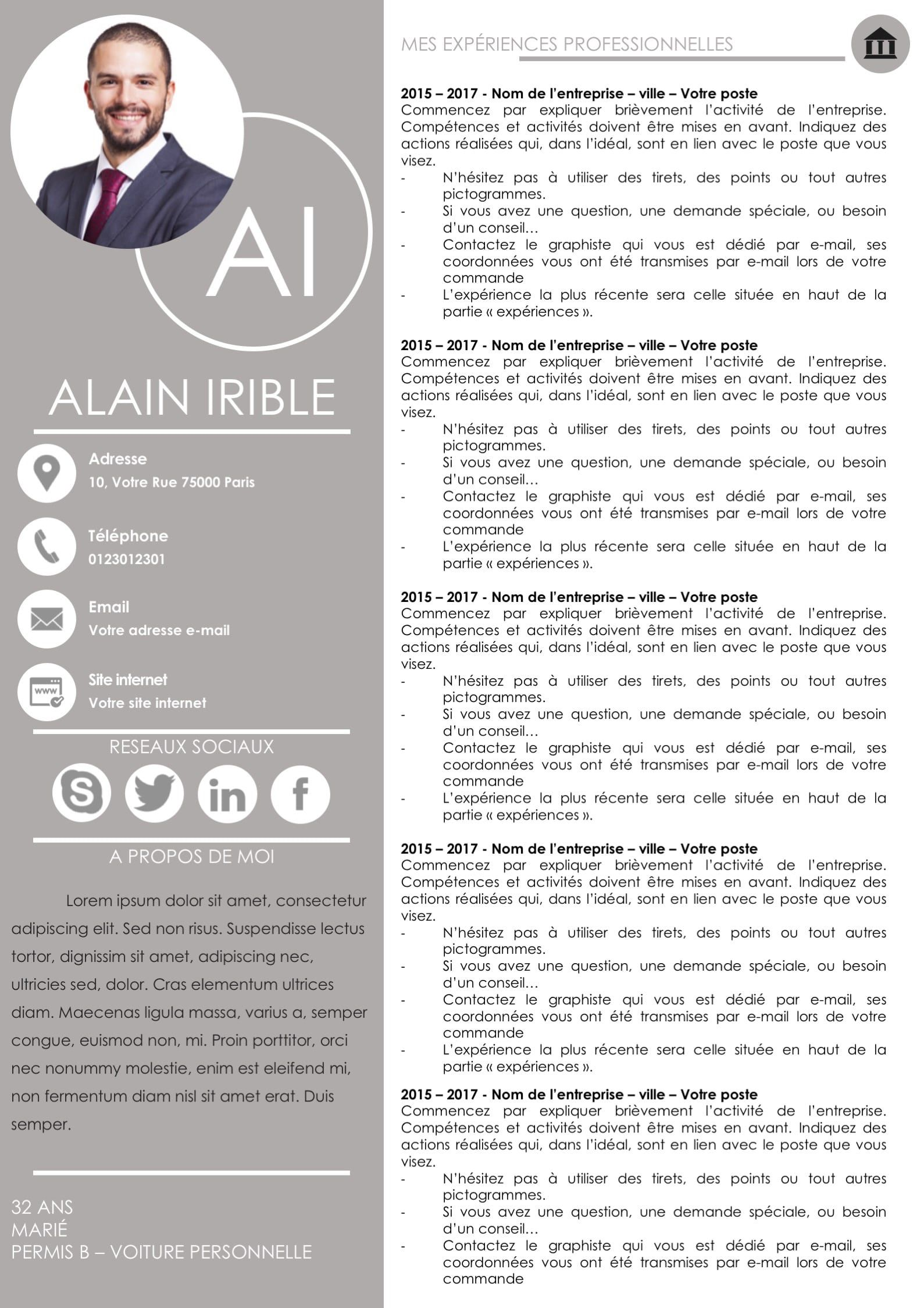 cv et lettre de motivation 2 pages - the first one