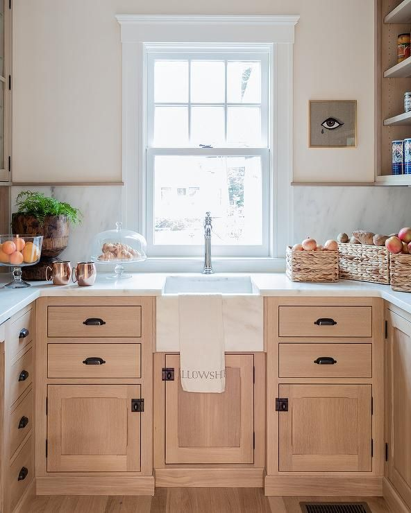 Light Wood Cabinets Kitchens: Light Wood Kitchen Pantry Cabinets With Bronze Cup Pulls
