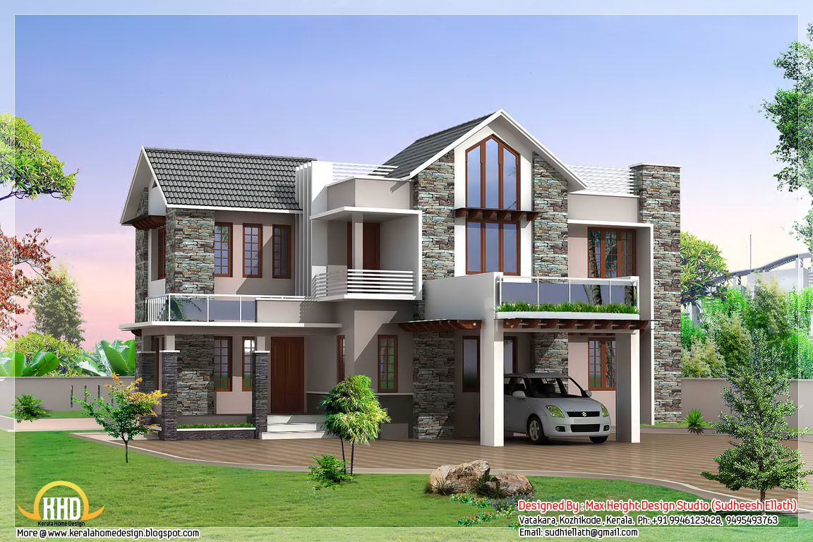 Superior Beautiful 3 -bed Contemporary Home Part - 9: Square Feet Modern Home Design Square Feet Bedroom Contemporary Kerala  Villa Design