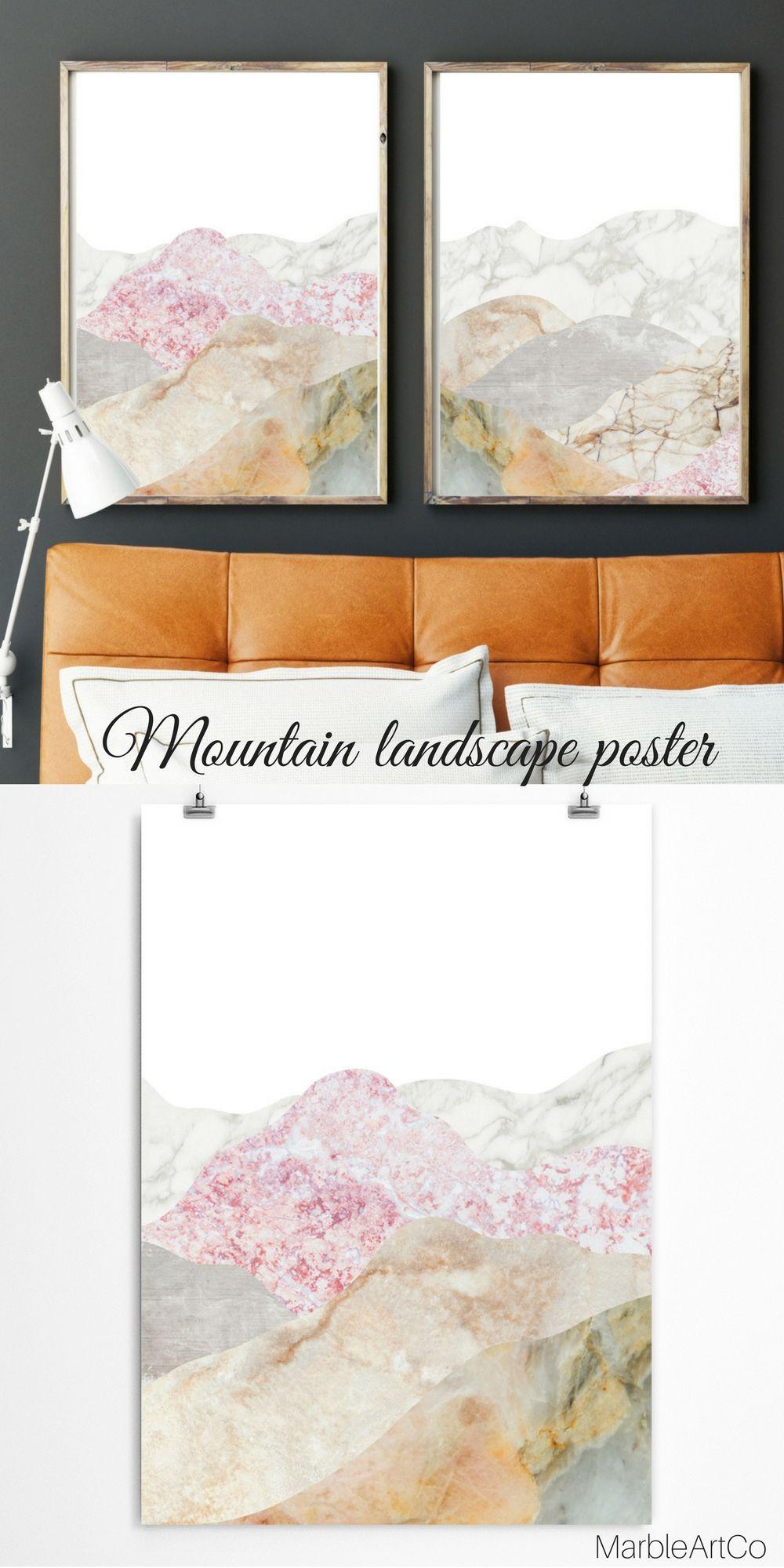 Mountain landscape wall art framed large print minimal home decor