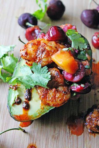 Spicy Shrimp And Mango Cherry Salsa Avocado Boats Recipe on Yummly
