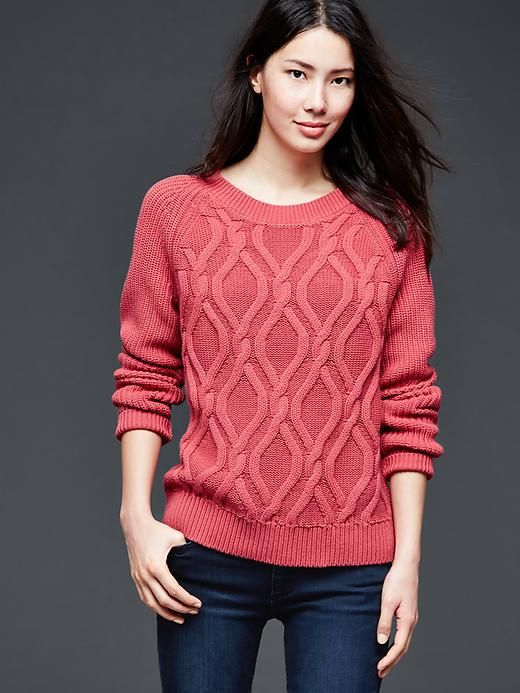 Cable-knit pullover sweater. Like the fit of this--not tight, but ...