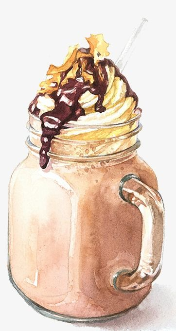 Drawing Ice Coffee, Watercolor, Summer, Food PNG ...