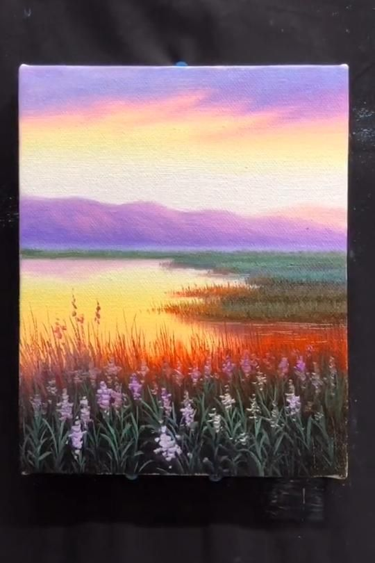 Lake Sunset With Rays Of Sun How To Paint Landscape Acrylic Tutorial Video In 2020 Nature Art Painting Amazing Art Painting Painting Art Projects