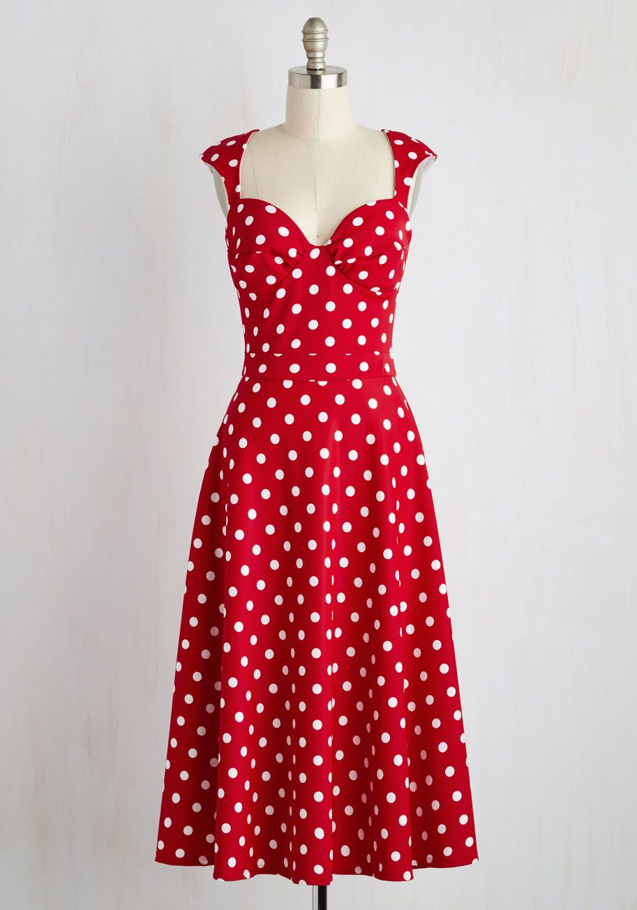 Wedding attendee dresses  Prove Your Groove Dress in Red Dots by Bettie Page  Red White