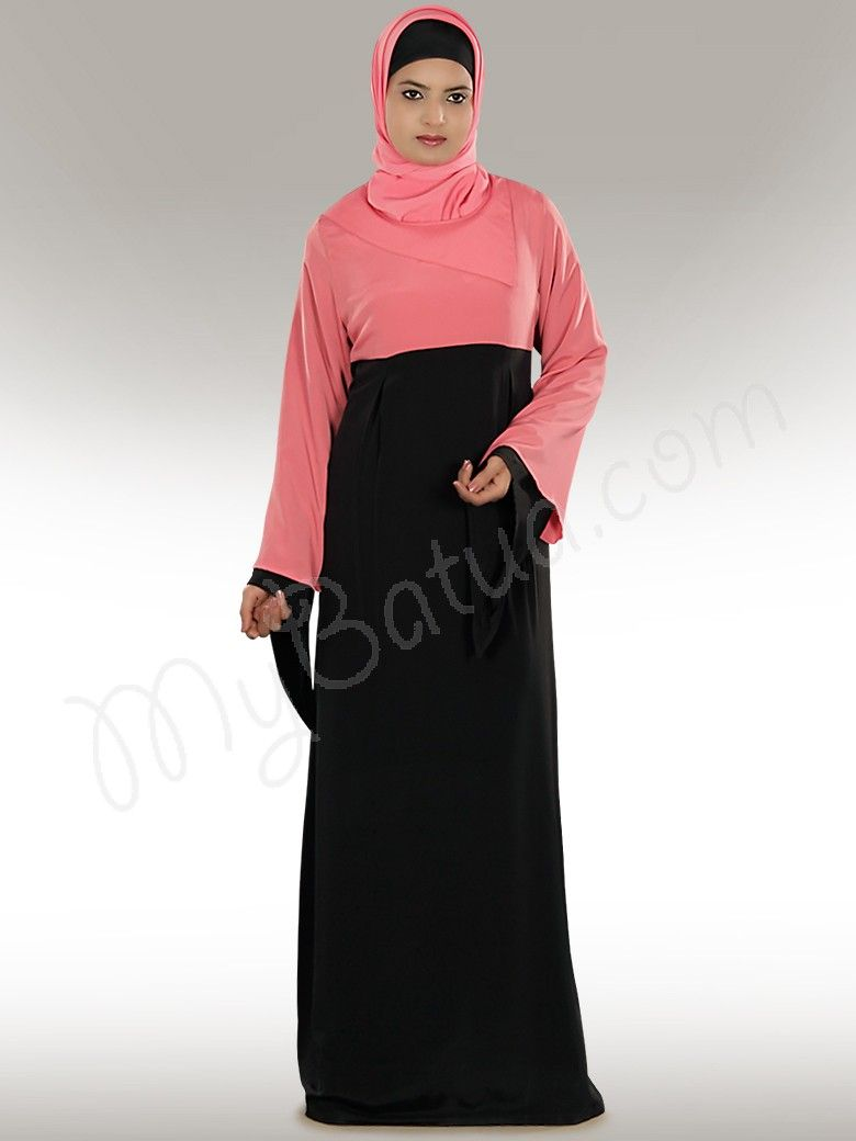 69b263fcc91 www.mybatua.com Idala Black Abaya Designer flap neck with Dual Colour Abaya