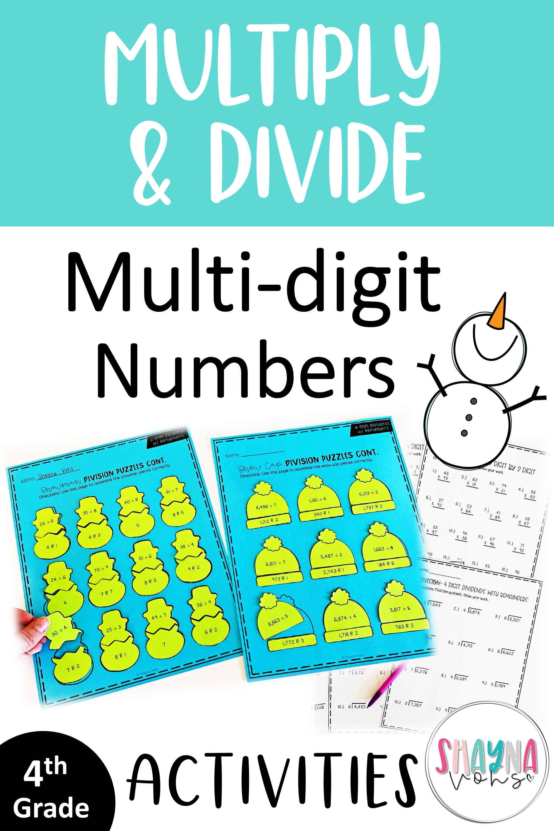 Winter Multiplication and Division Puzzles and Worksheets   Multiplication  and division [ 2700 x 1800 Pixel ]