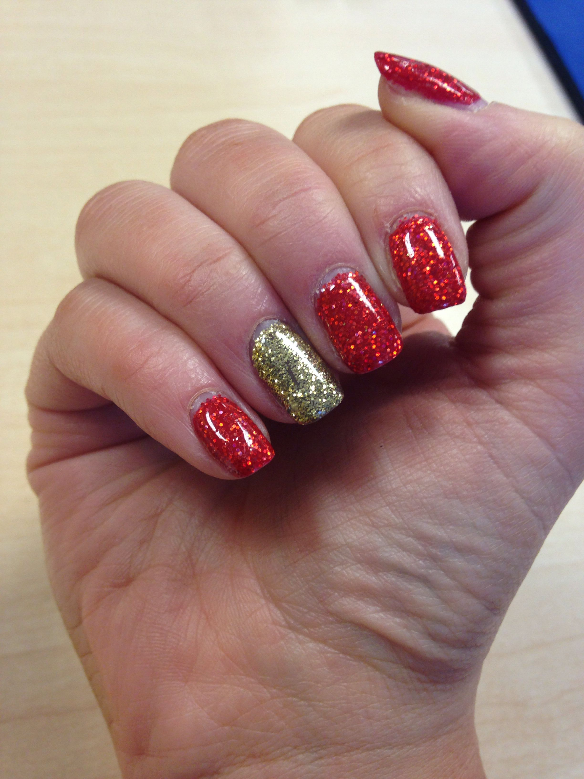 Proper sparkly nails for Christmas. Red and gold glitter - CND ...