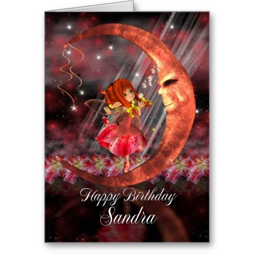 Birthday Card with Cute little fairy moon and star