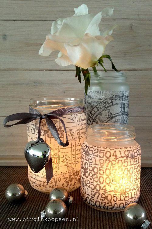 Tissuepapier bestempelen en dan het potje ermee beplakken  Candle light holders - birgit koopsen for carabelle studio