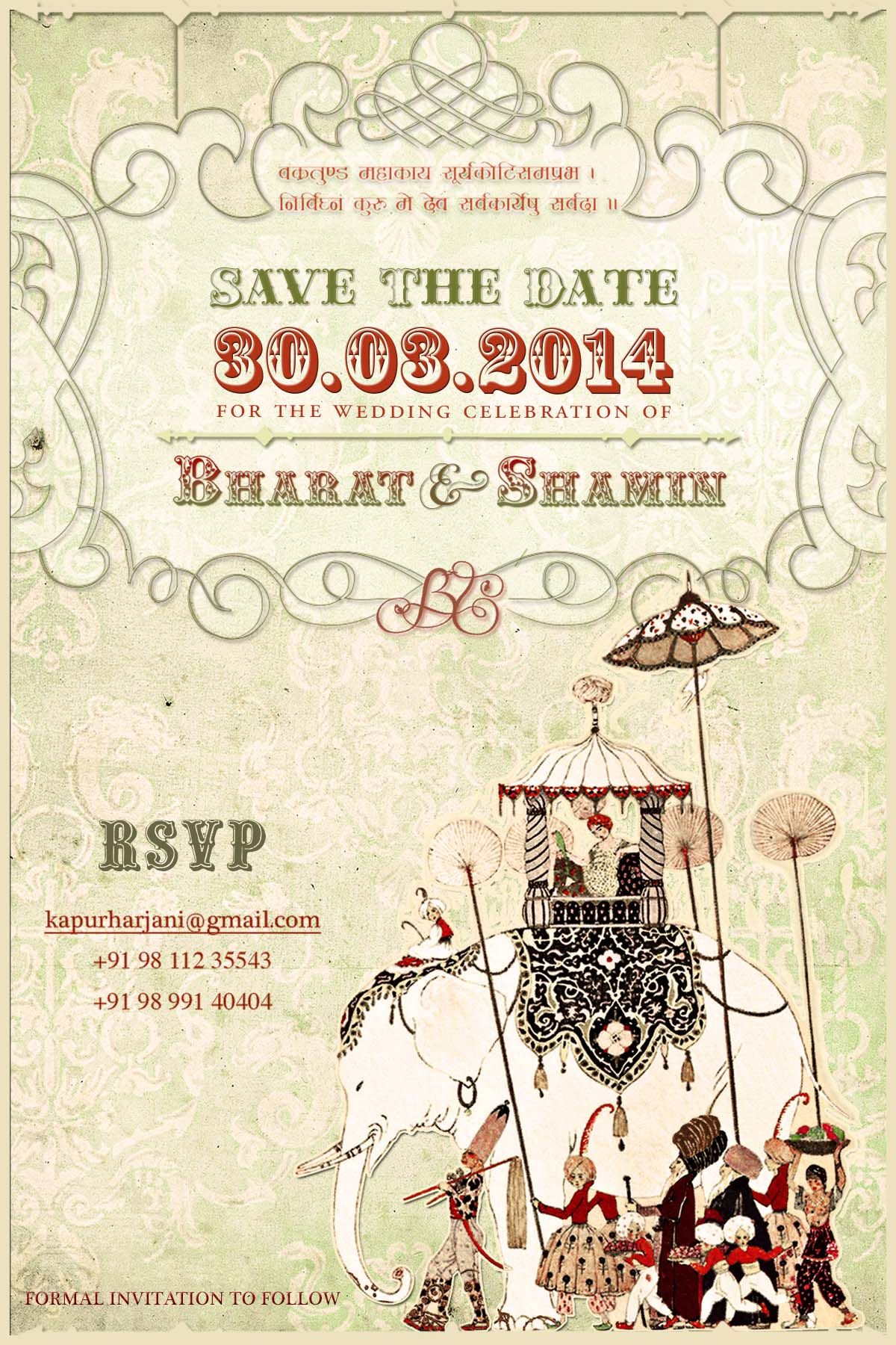 Indian Wedding Save The Date Invites My Work Wedding