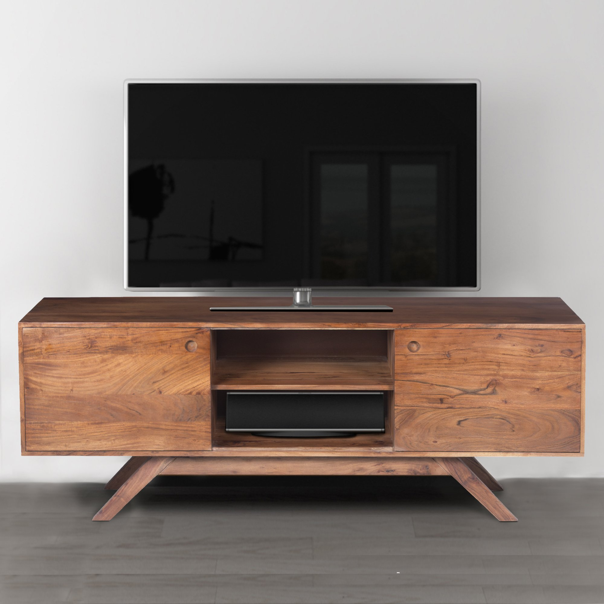 Mid Century Modern Acacia Wood Tv Unit With Wide Storage Walnut Brown In 2021 Wood Tv Unit Wood Tv Console Wooden Tv Unit