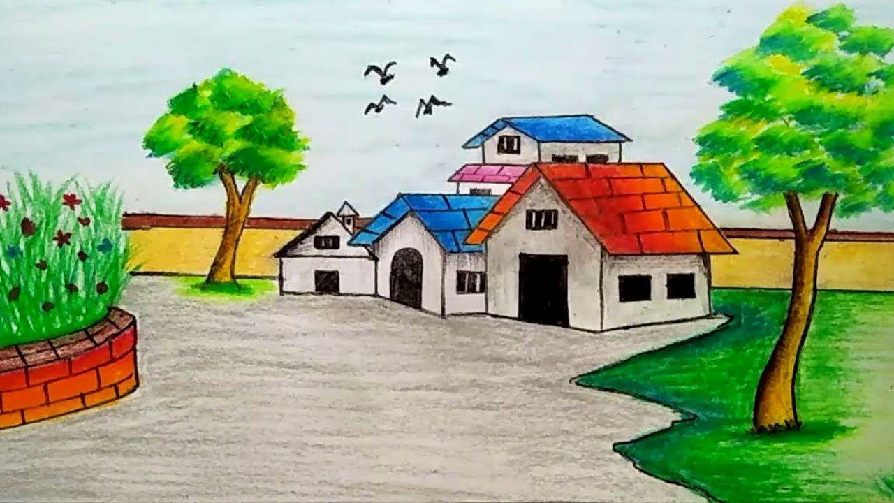 How To Draw Village Scenery Landscape Scene Drawing Tutorial Village Drawing Drawing Scenery Landscape Drawings