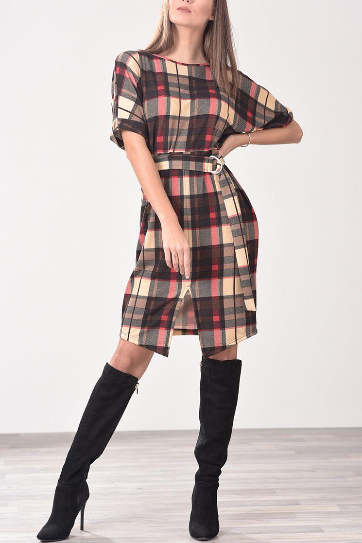 e3a7b3300312 Φόρεμα με ζωνάκι στη μέση καρό (μπεζ, κόκκινο, μαύρο) | Φορέματα ...