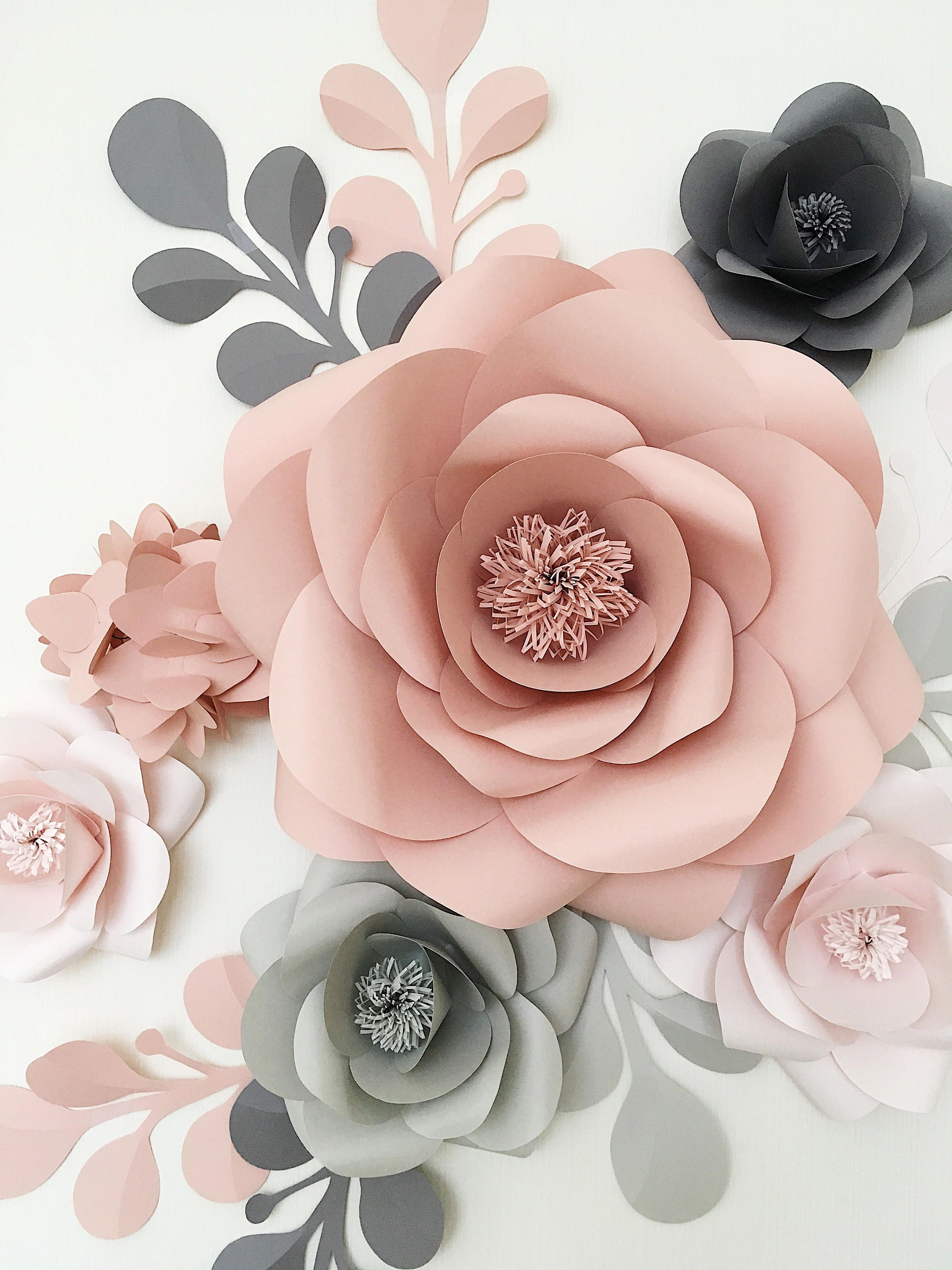 Royal Paper Flower Set in Light grey, Dusty Rose and Grey