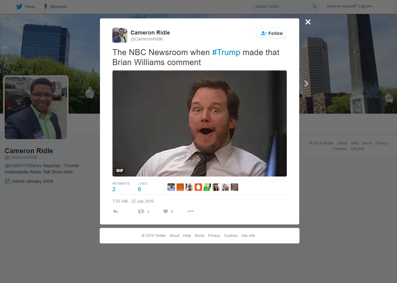 Cameron Ridle @CameronRidle The NBC Newsroom when #Trump made that Brian Williams comment