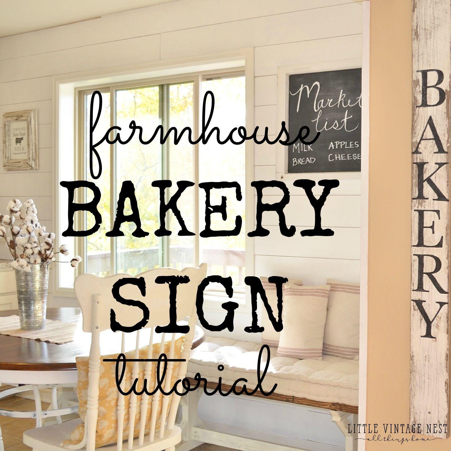 Simple and Easy DIY Bakery Sign Bakery sign, Farmhouse