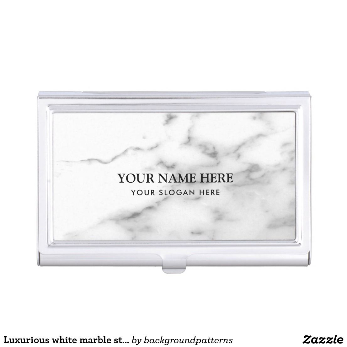 Luxurious white marble stone company name business card holder ...